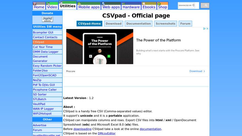 CSVpad Landing Page