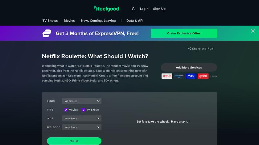 Netflix Roulette Landing Page