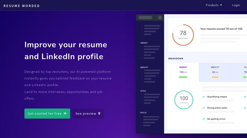 Resume Worded Landing Page
