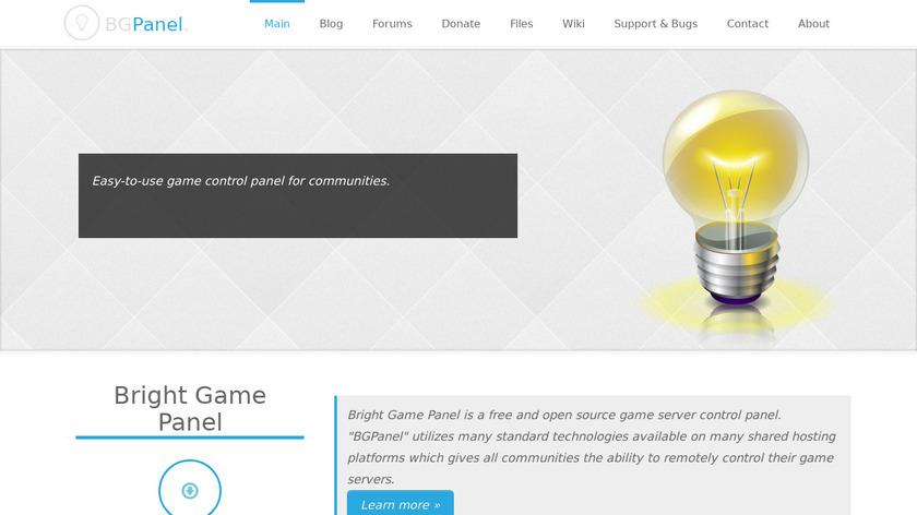 Bright Game Panel Landing Page