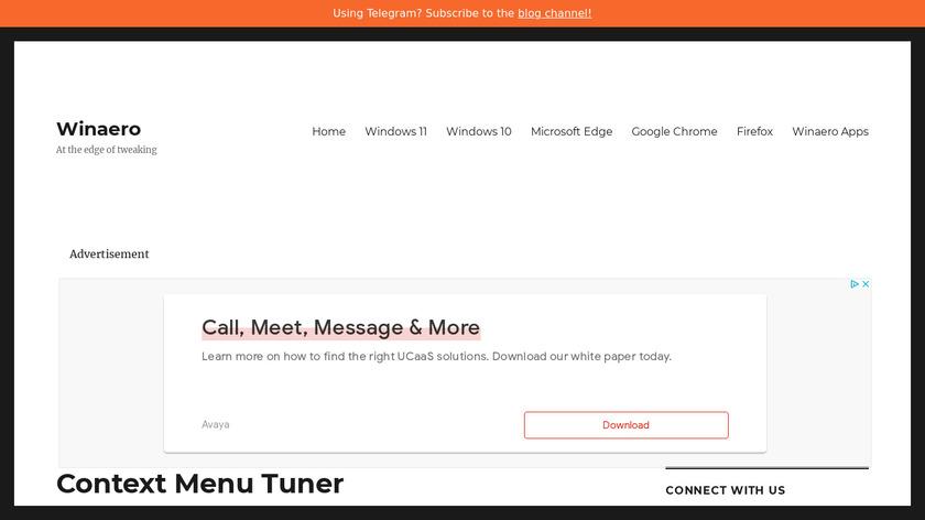 Winaero Context Menu Tuner Landing Page