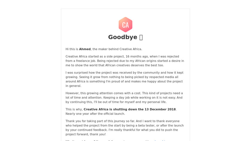 Creative Africa Landing Page