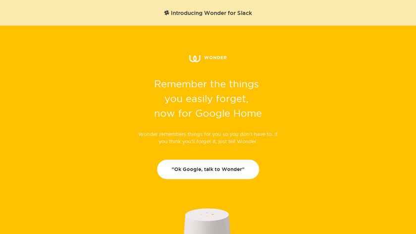 Wonder for Google Home Landing Page
