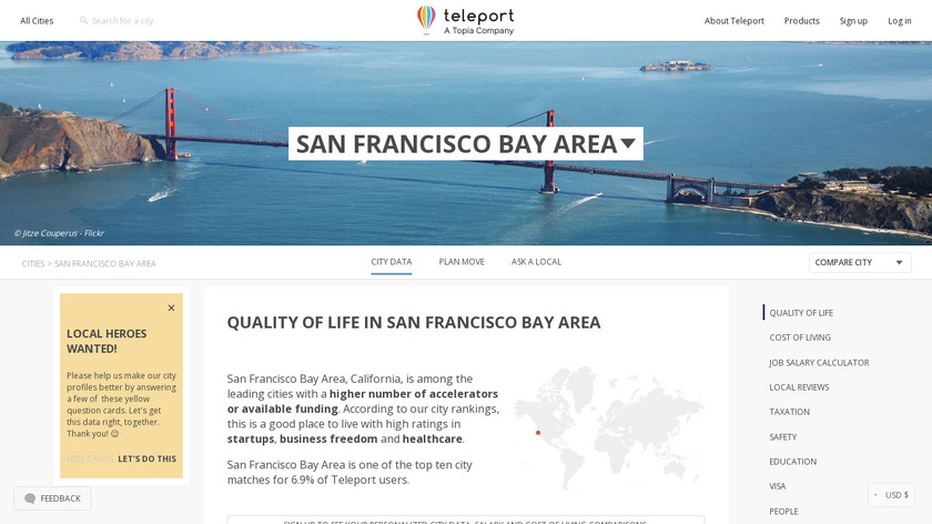 Bay Area Teleport Landing Page