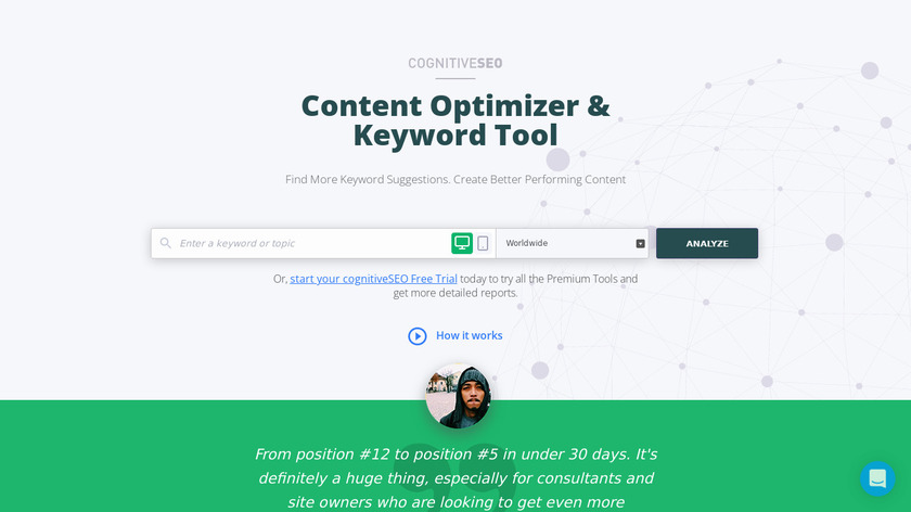 Keyword Tool & Content Assistant Landing Page