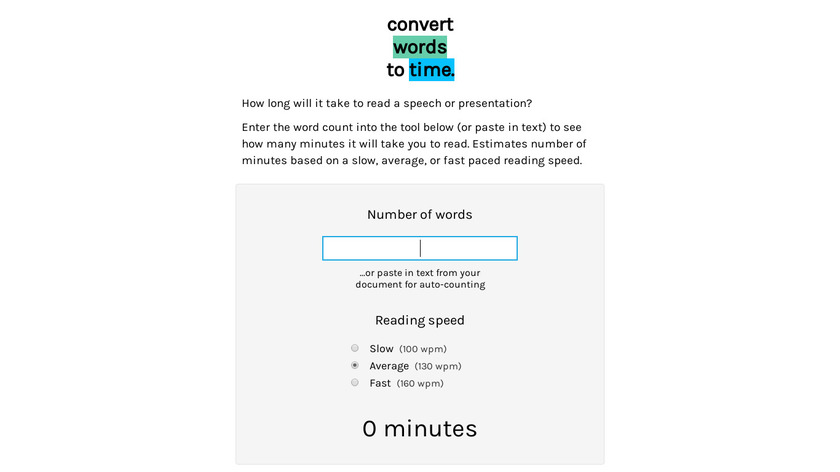 Words to Time Landing Page