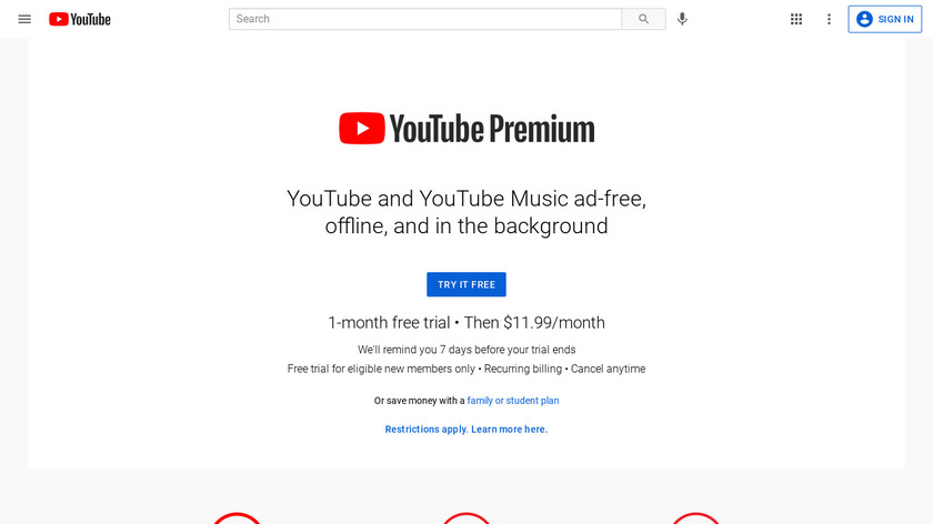 YouTube Red Landing Page