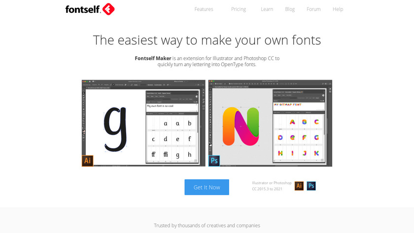 Fontself Maker for Photoshop Landing Page