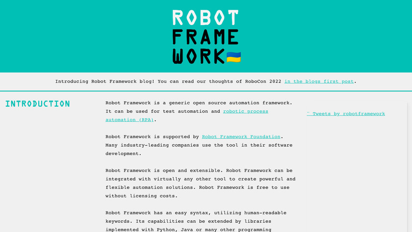 Robot framework Landing Page