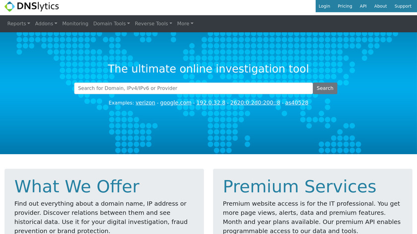 IP Address and Domain Information Landing Page