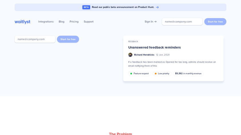 Collapsed Landing Page