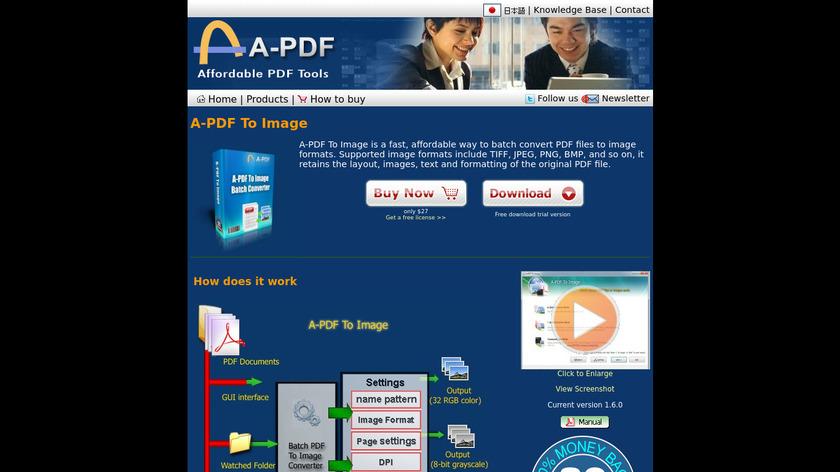 A-PDF to Image Landing Page