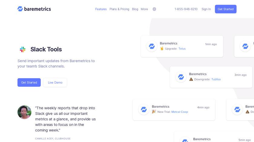 Baremetrics for Slack Landing Page