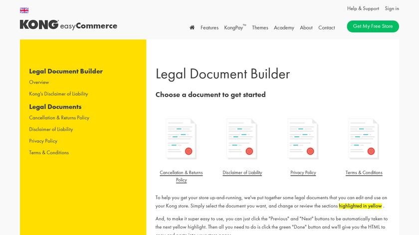 Kong Legal Document Builder Landing Page