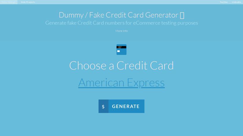 Dummy Card Generator Landing Page