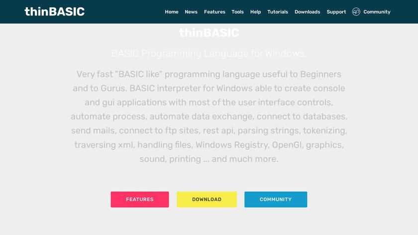 thinBasic Landing Page