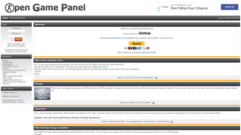 Open Game Panel Landing Page