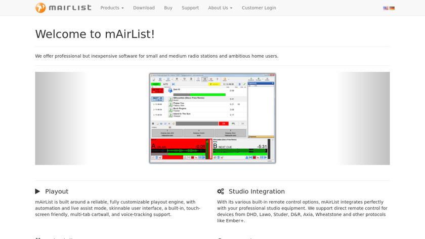 mAirList Landing Page
