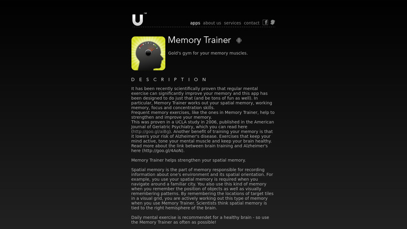 Memory Trainer Landing Page