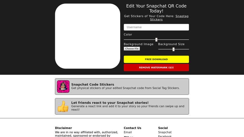 Snaptag Editor Landing Page
