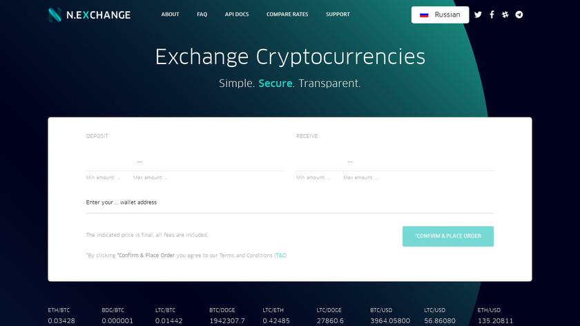 Nexchange Landing Page