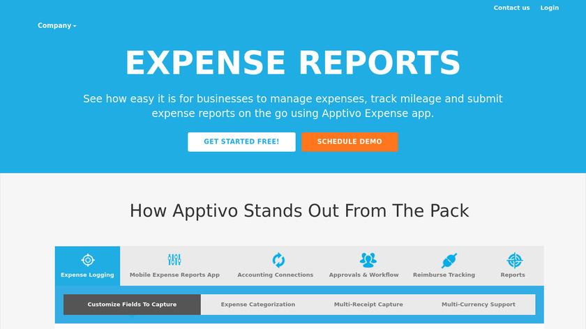 Apptivo Expense Reports Landing Page