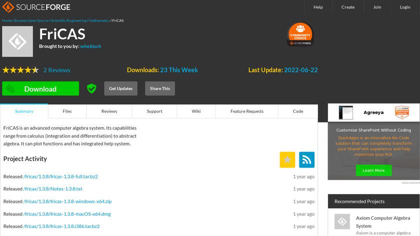 FriCAS Landing Page