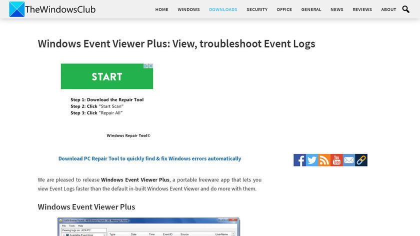 Windows Event Viewer Plus Landing Page