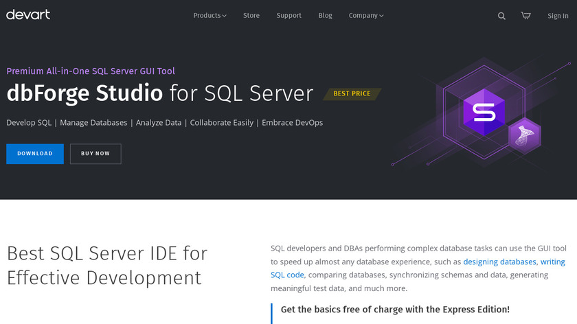 Devart Studio for SQL Server Landing Page