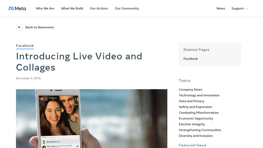 Facebook Live Video and Collages Landing Page