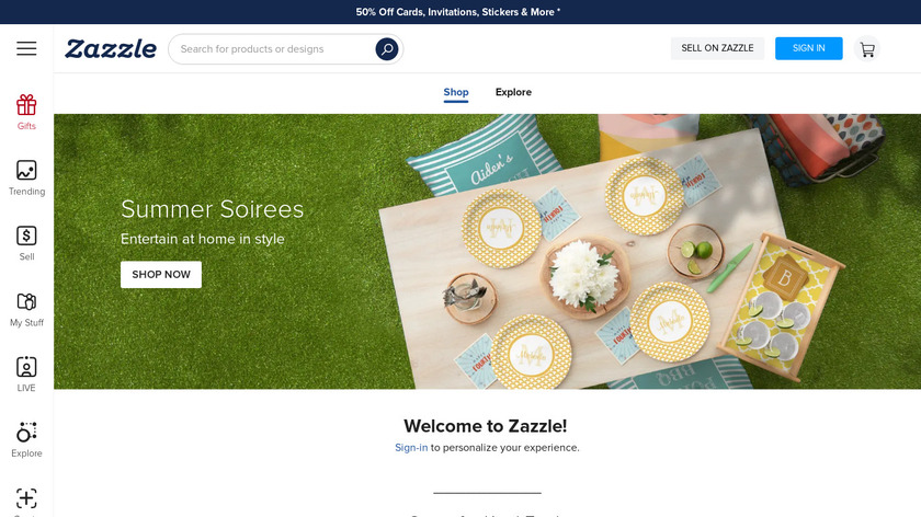 Zazzle Landing Page