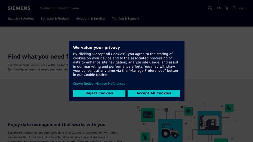Siemens Teamcenter Landing Page