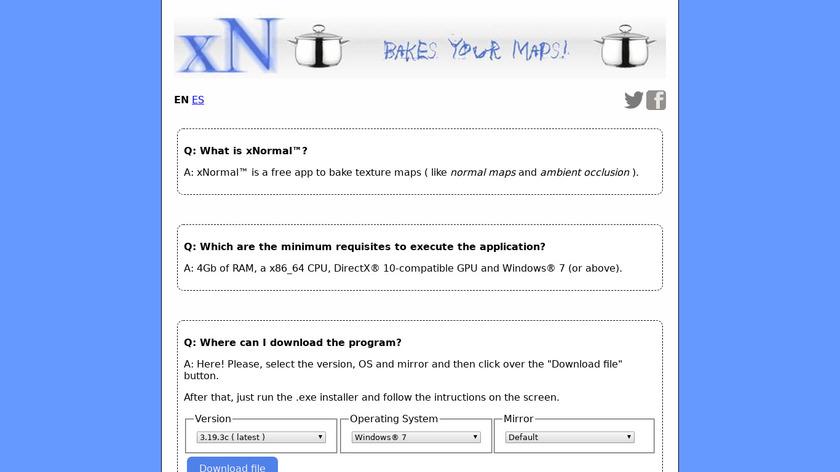 xNormal Landing Page