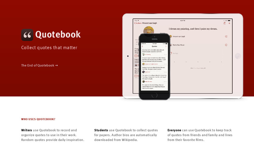 Quotebook Landing Page
