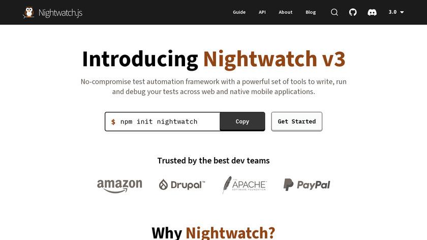 Nightwatch.js Landing Page