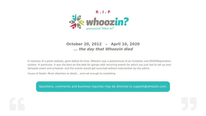 Whoozin.com Landing Page