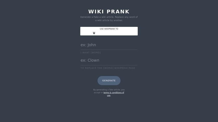 WikiPrank Landing Page