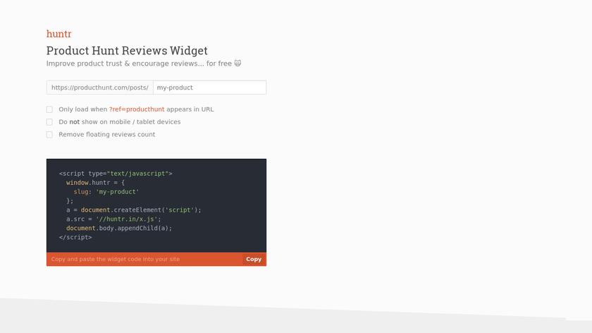 Product Hunt Reviews Widget Landing Page