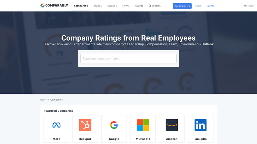 Comparably for Companies Landing Page