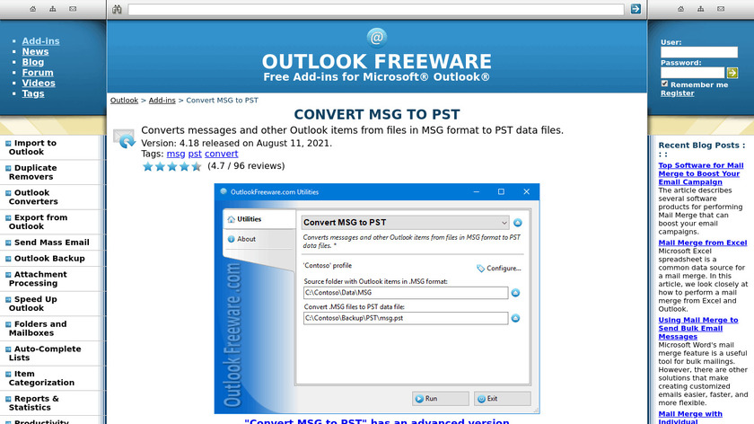 Convert Outlook MSG to PST Landing Page