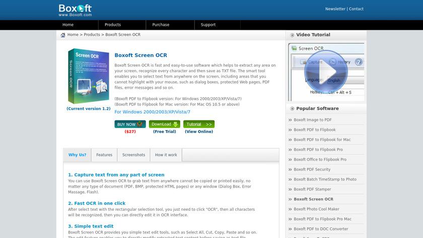 Boxoft Screen OCR Landing Page