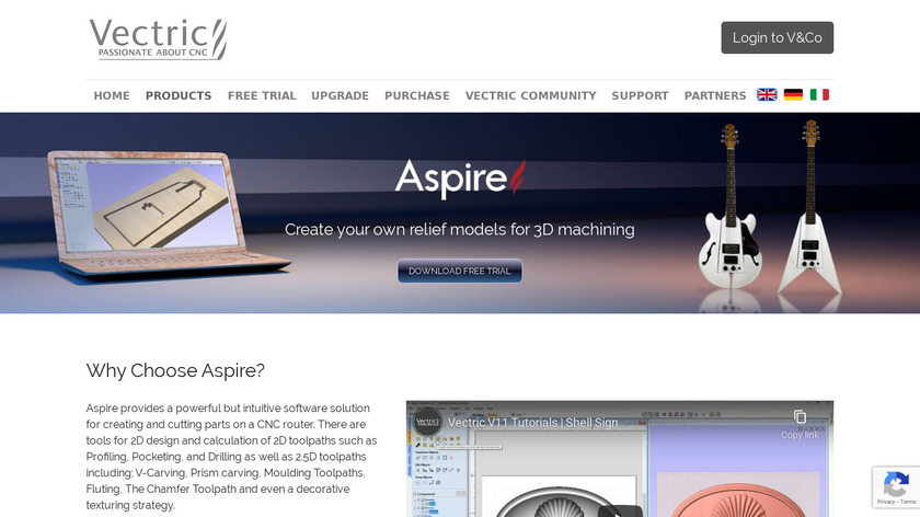 Vectric Aspire Landing Page