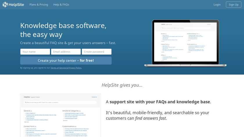 HelpSite Landing Page