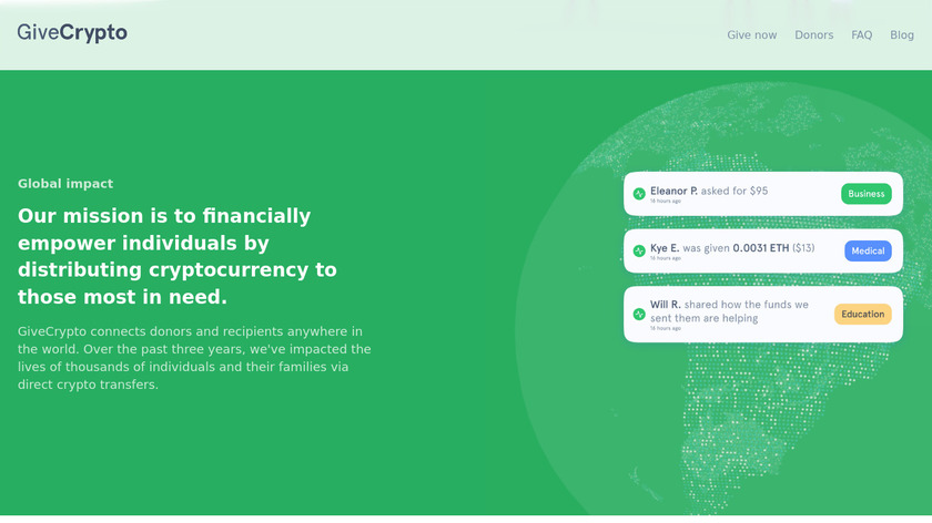 GiveCrypto Landing Page