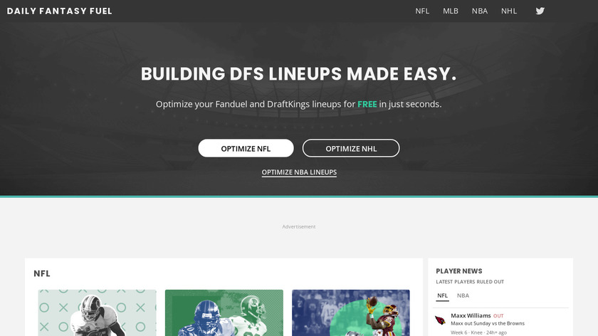 Daily Fantasy Fuel Landing Page