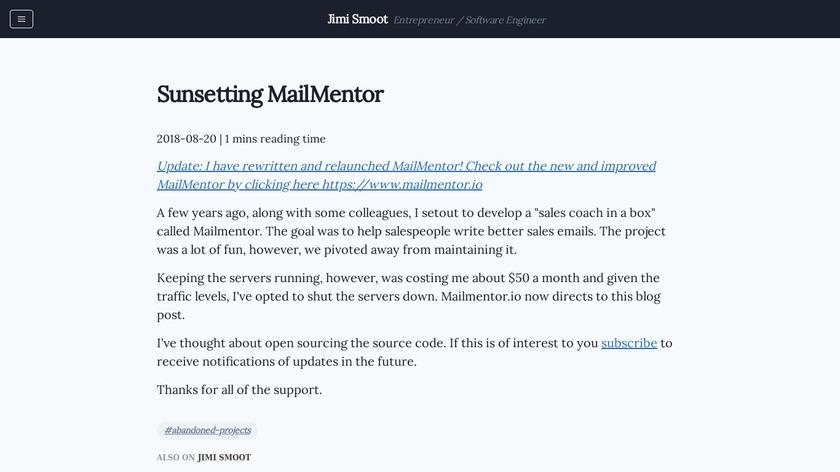 MailMentor Landing Page