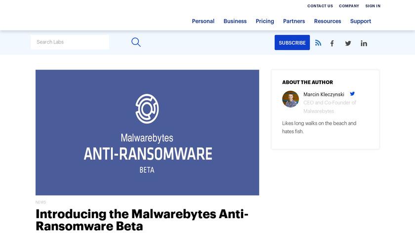 Malwarebytes Anti-Ransomware Landing Page