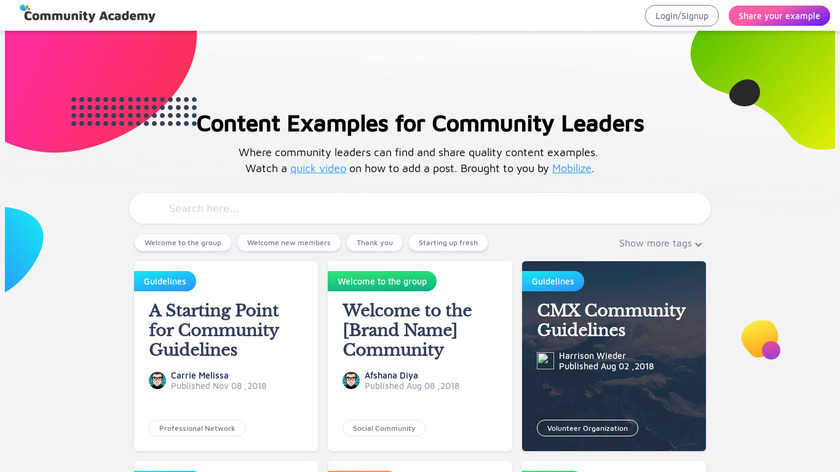 Community Academy Landing Page