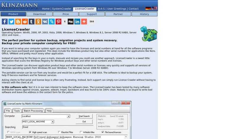 LicenseCrawler Landing Page