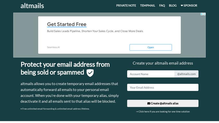 AltMails Landing Page